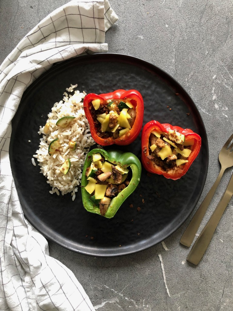 Vegan gevulde paprika's