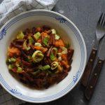 Zoete aardappelstamppot met prei