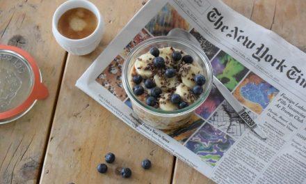 Overnight oats met blauwe bessen