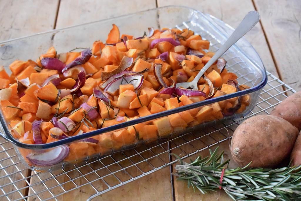 Ovenschotel met pompoen en zoete aardappel - www.puursuzanne.nl