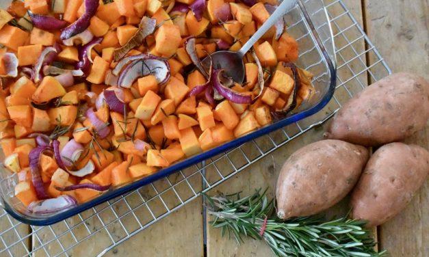 Ovenschotel met pompoen en zoete aardappel