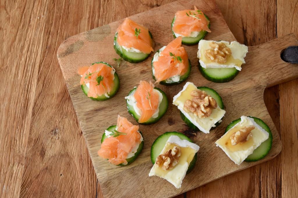 hapjes met komkommer - www.puursuzanne.nl
