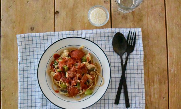 Spaghetti met vegan kip