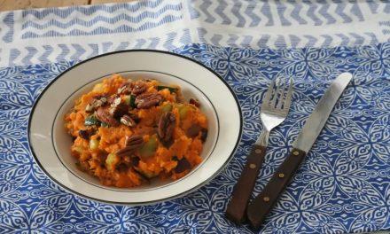 Vegan stamppot met zoete aardappel en courgette