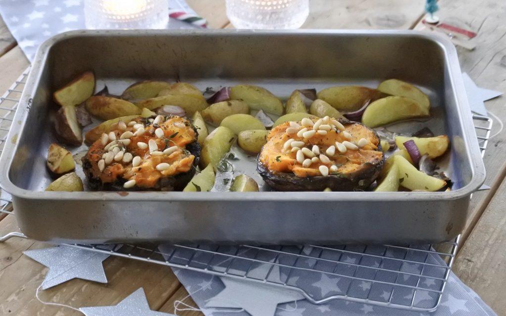 Gevulde portobello's met pompoenpuree