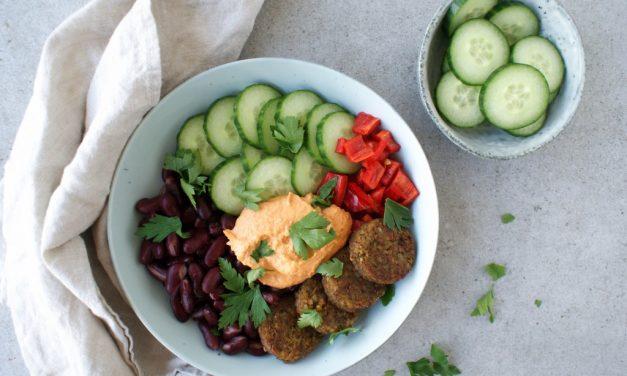 Falafel bowl met groenten en hummus