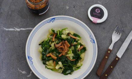 Stamppot met spinazie en champignons