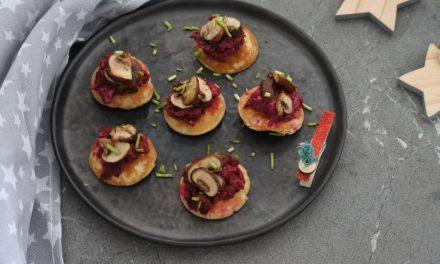 Blini's met bieten en champignons