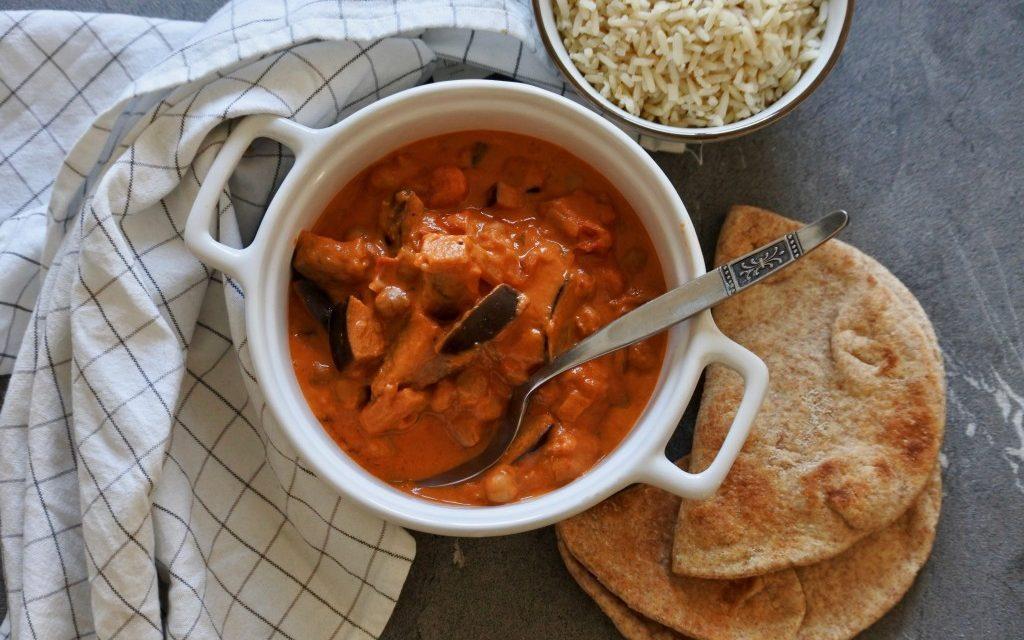 Kikkererwten curry met aubergine