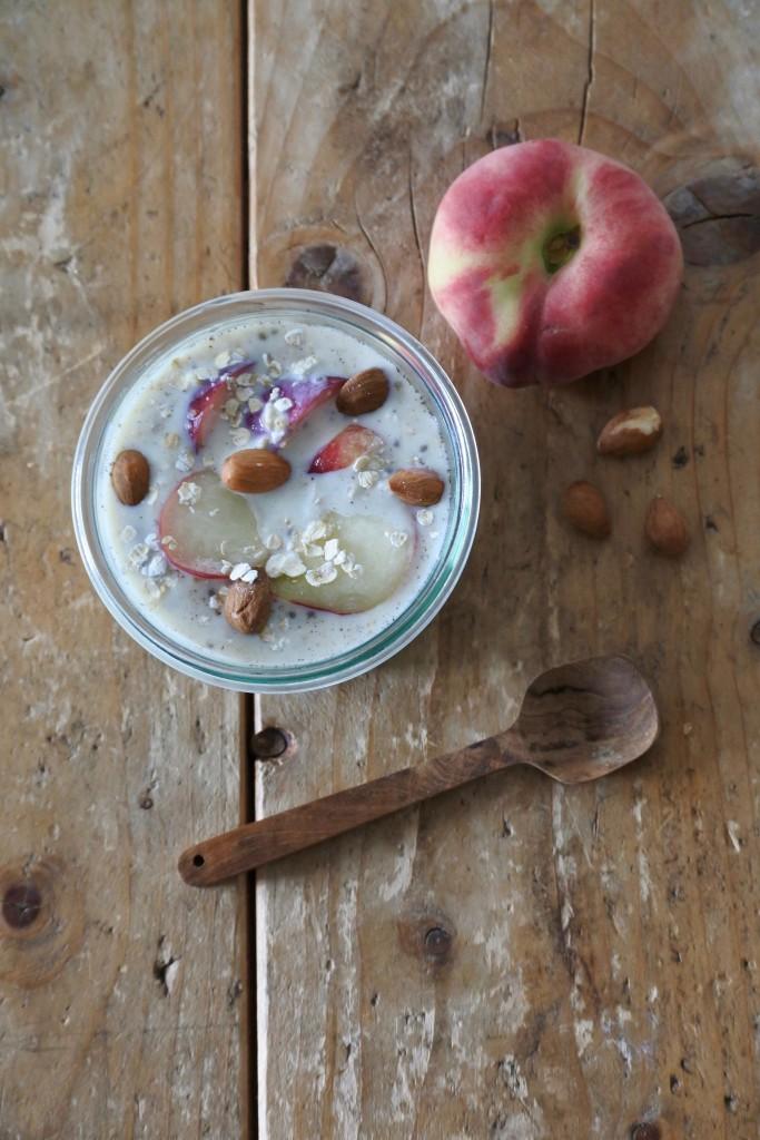 Overnight oats met perzik