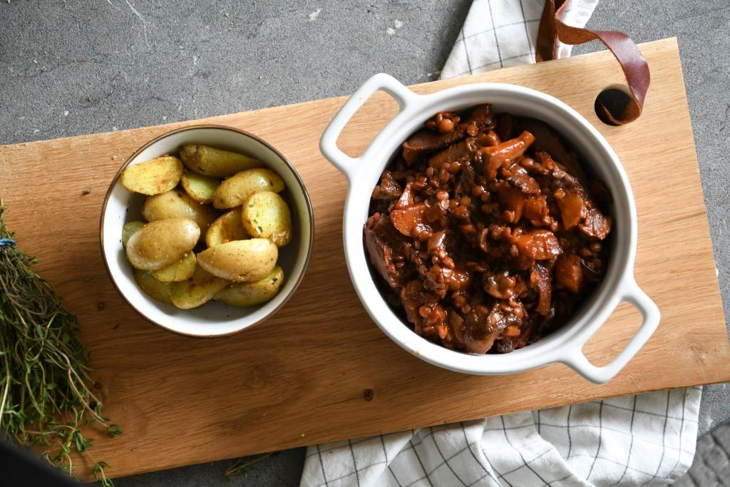 Stoofpot met champignons | vegan stoofpot | linzen | gemakkelijk recept | Puur Suzanne