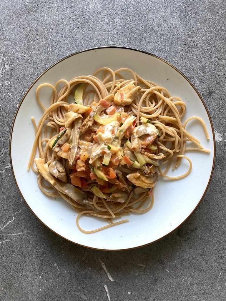 Romige pasta met champignons | vegan | gezond