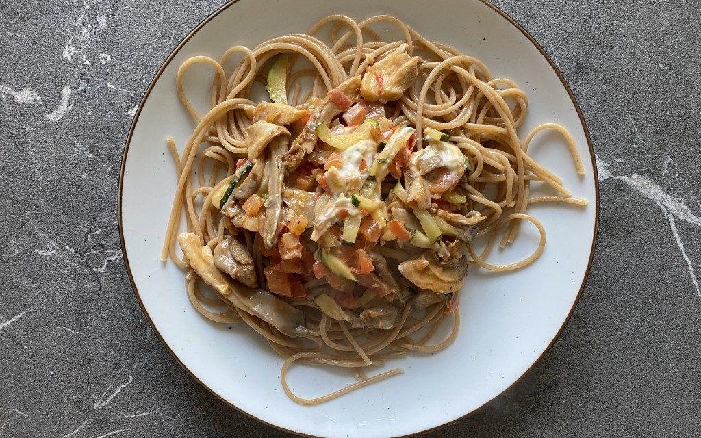 Romige pasta met champignons